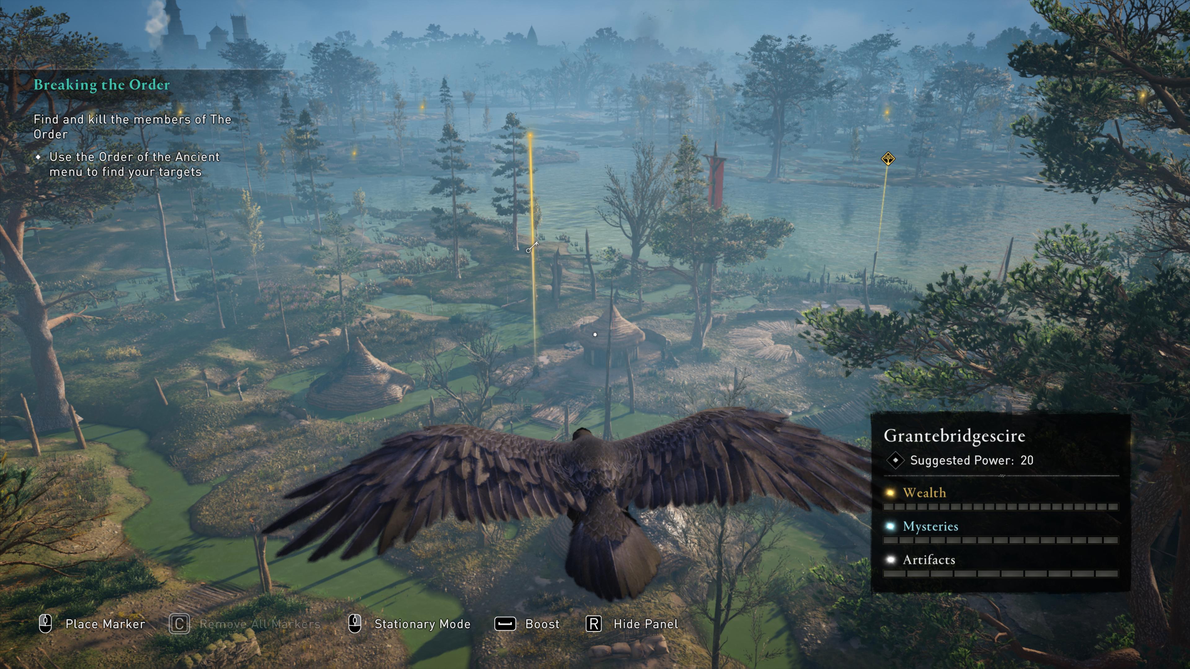 Скриншот интерфейса птицы-помощника из игры Assasin`s Creed. Питомец работает в качестве БПЛА, помогает искать ключевые точки маршрута, осматривать местность на предмет опасностей и т.д.