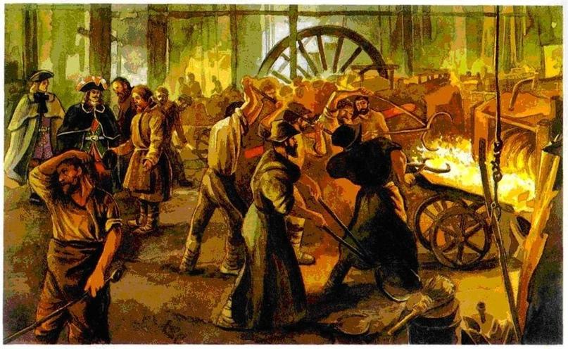 Изображение мануфактуры петровского периода, с крепостным трудом