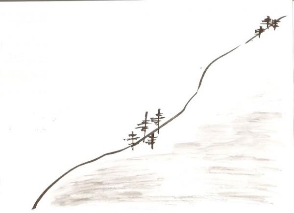 гора и сосны