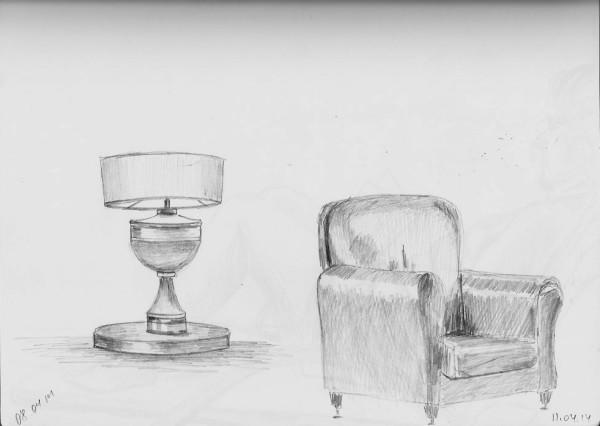 Кресло и лампа