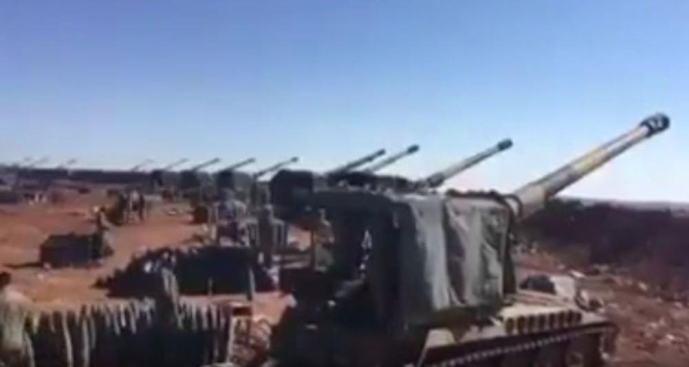 Работа 203-мм самоходных гаубиц M110A2 турецкой армии в Сирии