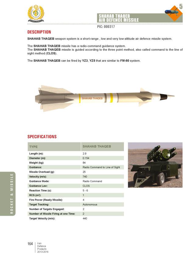 Shahab Thaqeb Air Defence Missile Catalog