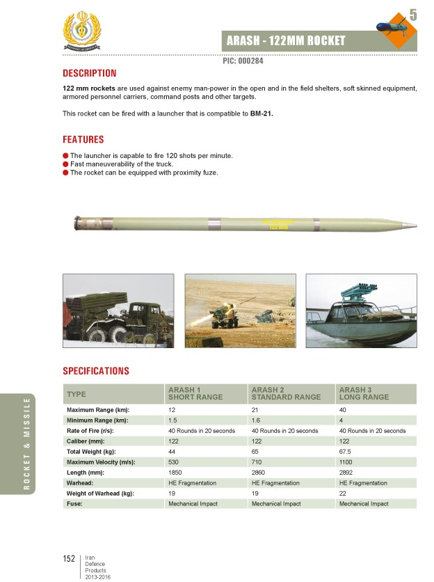 Arash - 122mm Rocket Catalog