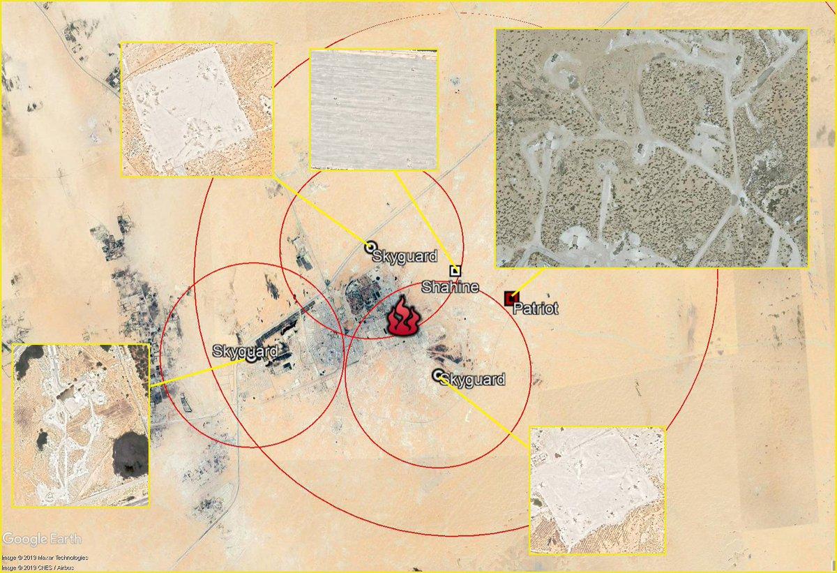 Диспозиция средств ПВО, прикрывавших разбомбленный завод в Абкайке: ЗРК Patriot, батарея ЗРК Shahin и три 35-мм ЗУ с системами Skyguard