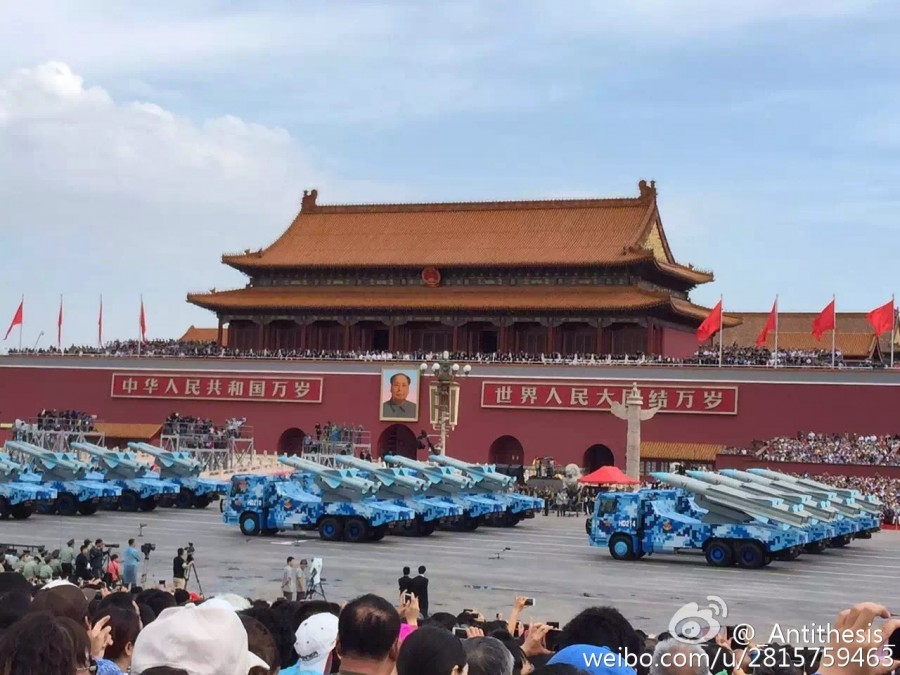 PLA ASM at parade - YJ-83 vs. YJ-12