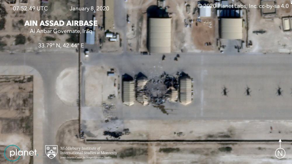 Последствия иранского удара по используемой американцами авиабазе Айн эль-Асад