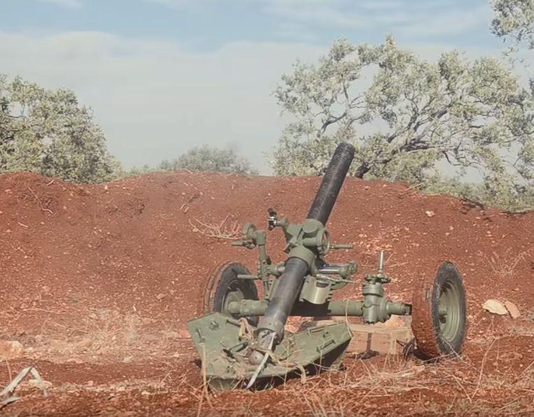 Нарезной 120-мм миномет у боевиков в сирийской провинции Идлиб