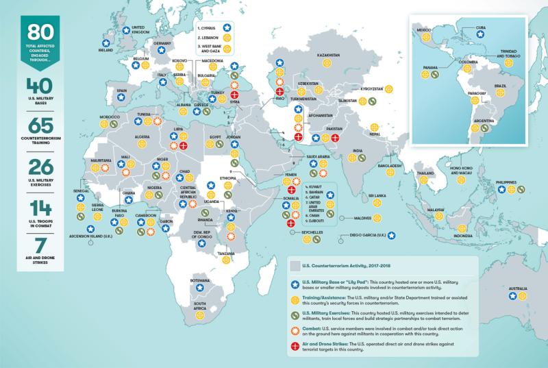 Эта карта показывает, где в мире коалиция США борются с терроризмом
