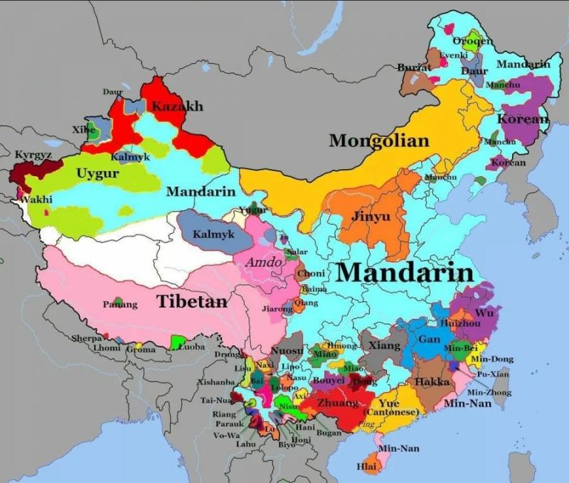 Карта основных языков и диалектов Китая. Энциклопедия Britannica