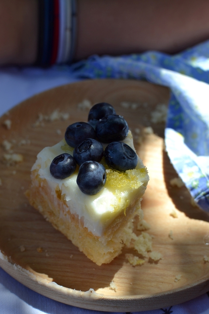 Vanilla Sheet Cake with Lemon Frosting
