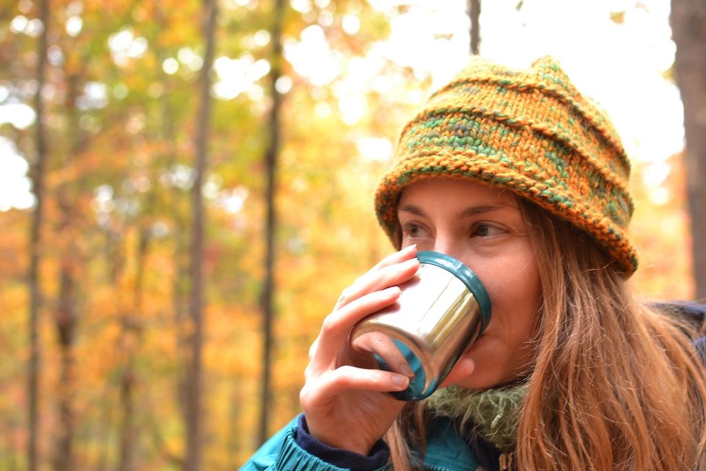 Katherine drinks tea