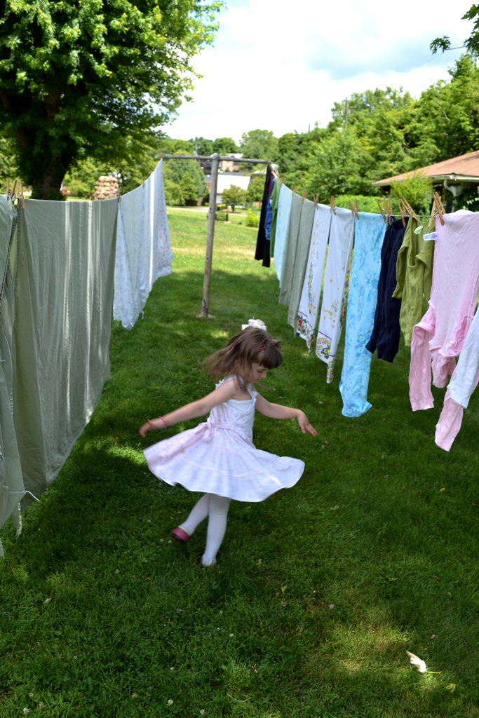 Willow dances at the clothesline