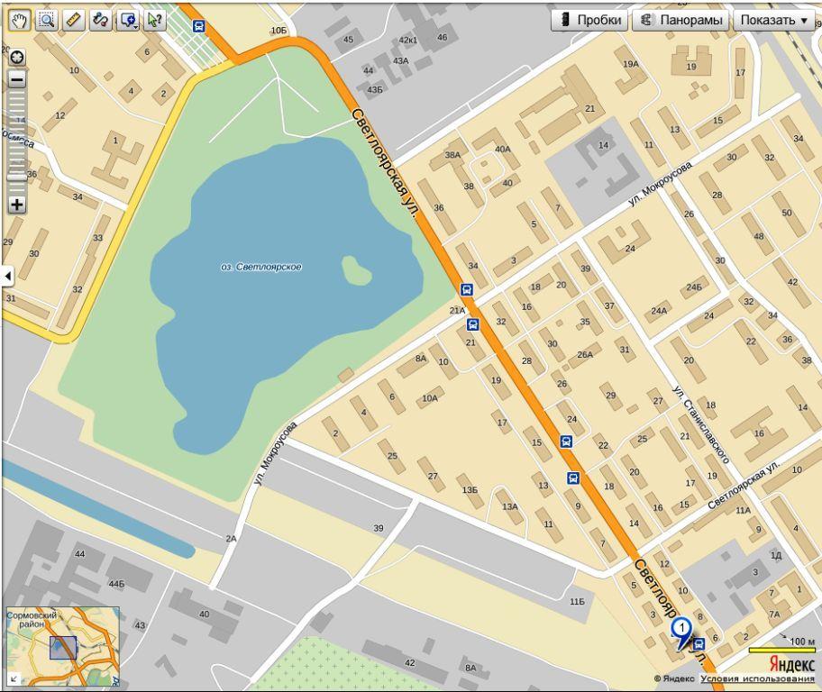 Карта улицы Светлоярской