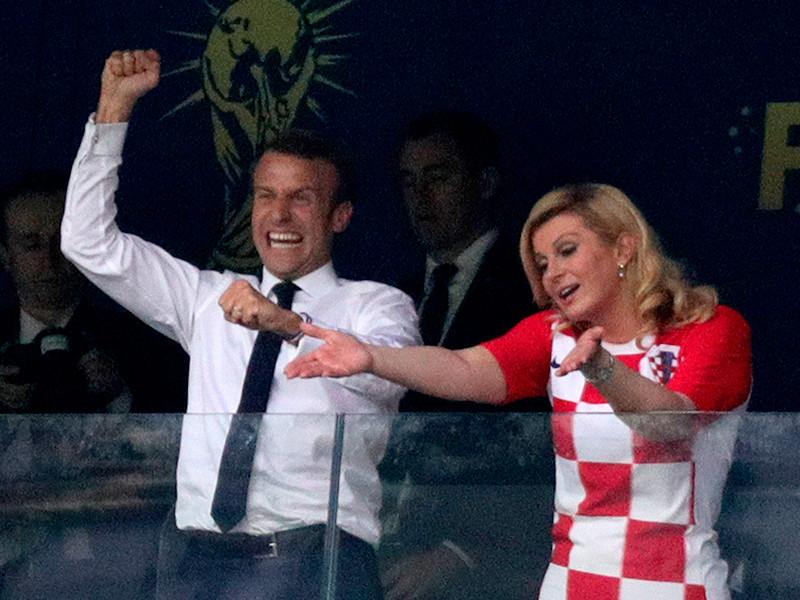 президент Хорватии Колинда Грабар-Китарович и президент Франции Эммануэль Макрон