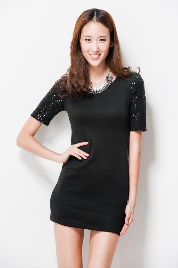 Sequin sleeve dress