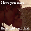 An Anakin/Padmé icon with the words I love you more than light and dark