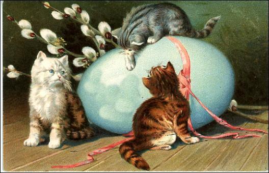 free-vintage-easter-clip-art-blue-egg-pink-ribbon-three-tabby-kittens