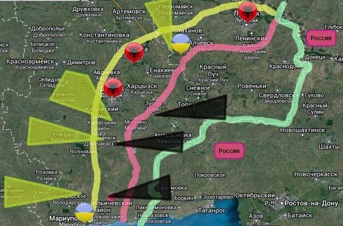 Общая ситуация на фронте примерно выглядит так, как на карте. 27.08.2014