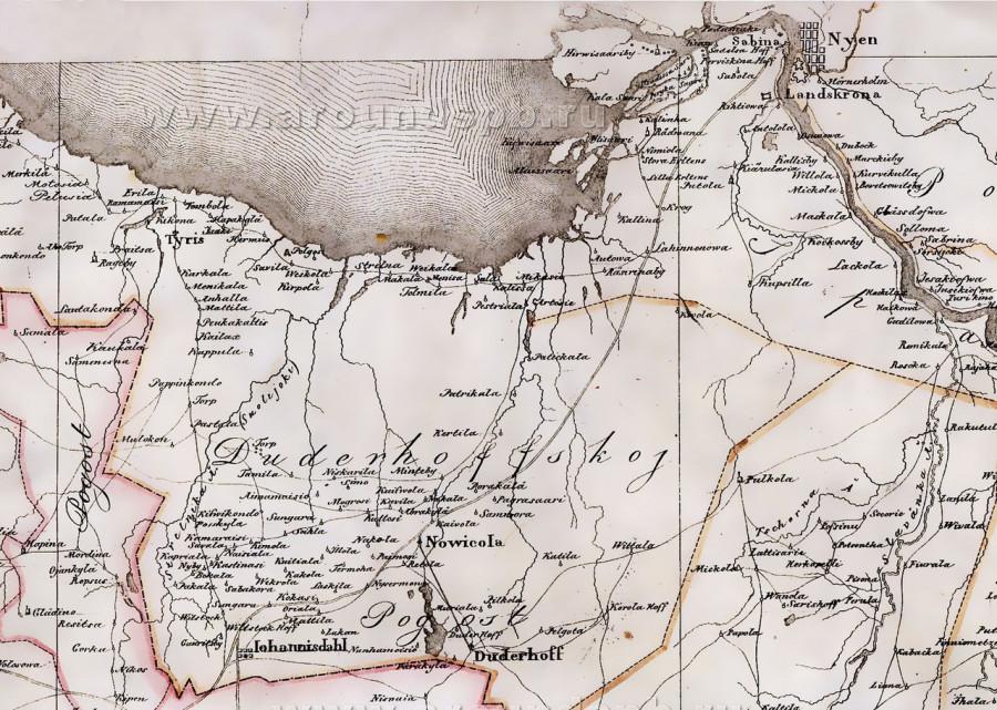 Дудергофский погост на карте Беренгейма (1676 год)