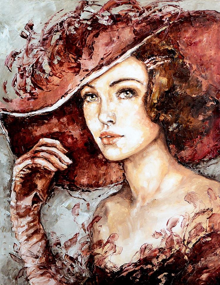Женщины в шляпках / художник Elzbieta Brozek