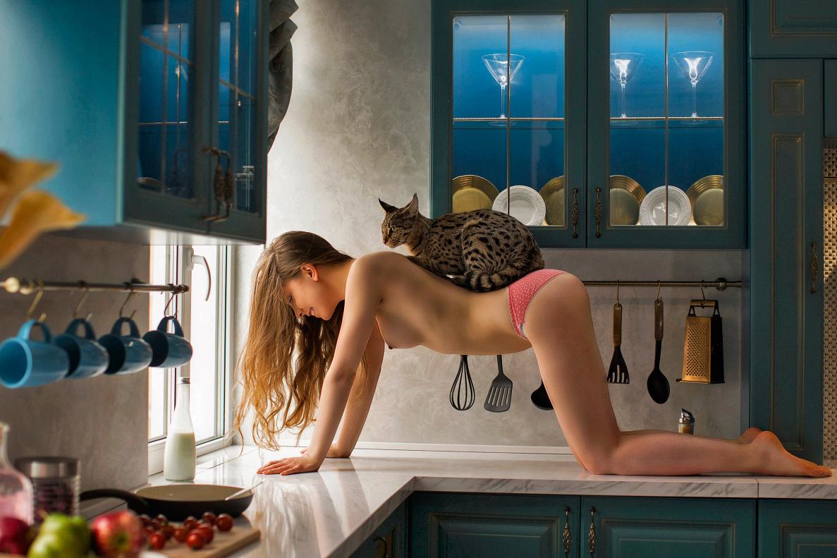 Девушки и котики / фотограф Oxana
