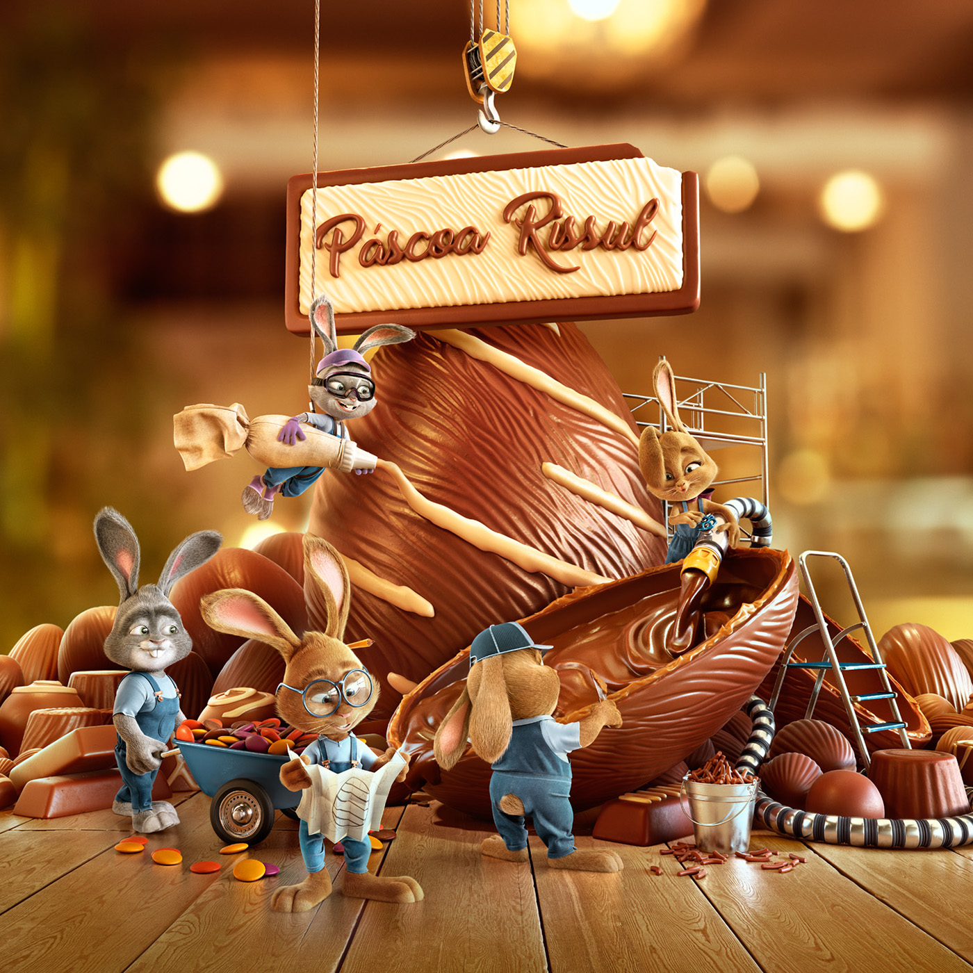 Brazilian easter advertising campaign for Rissul Supermarket