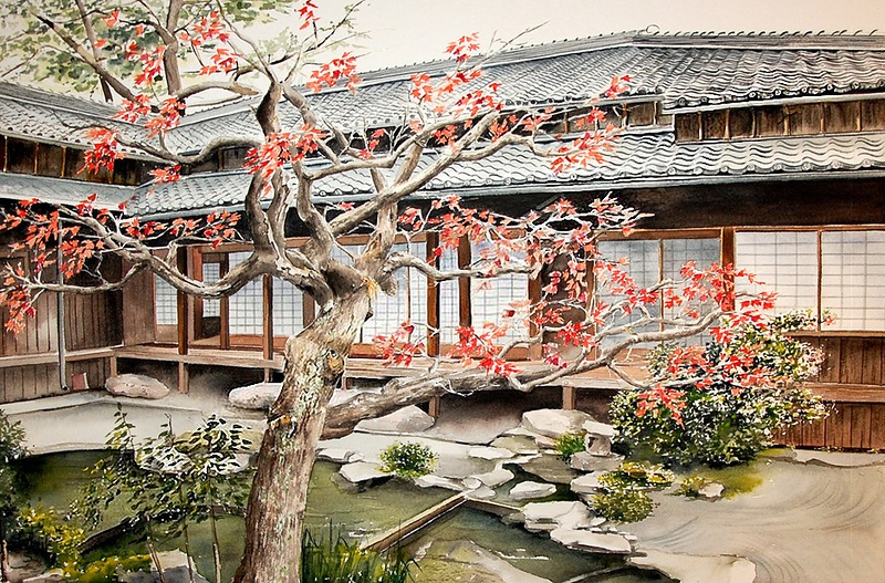 Япония на картинах француженки Marie-Claire Houmeau