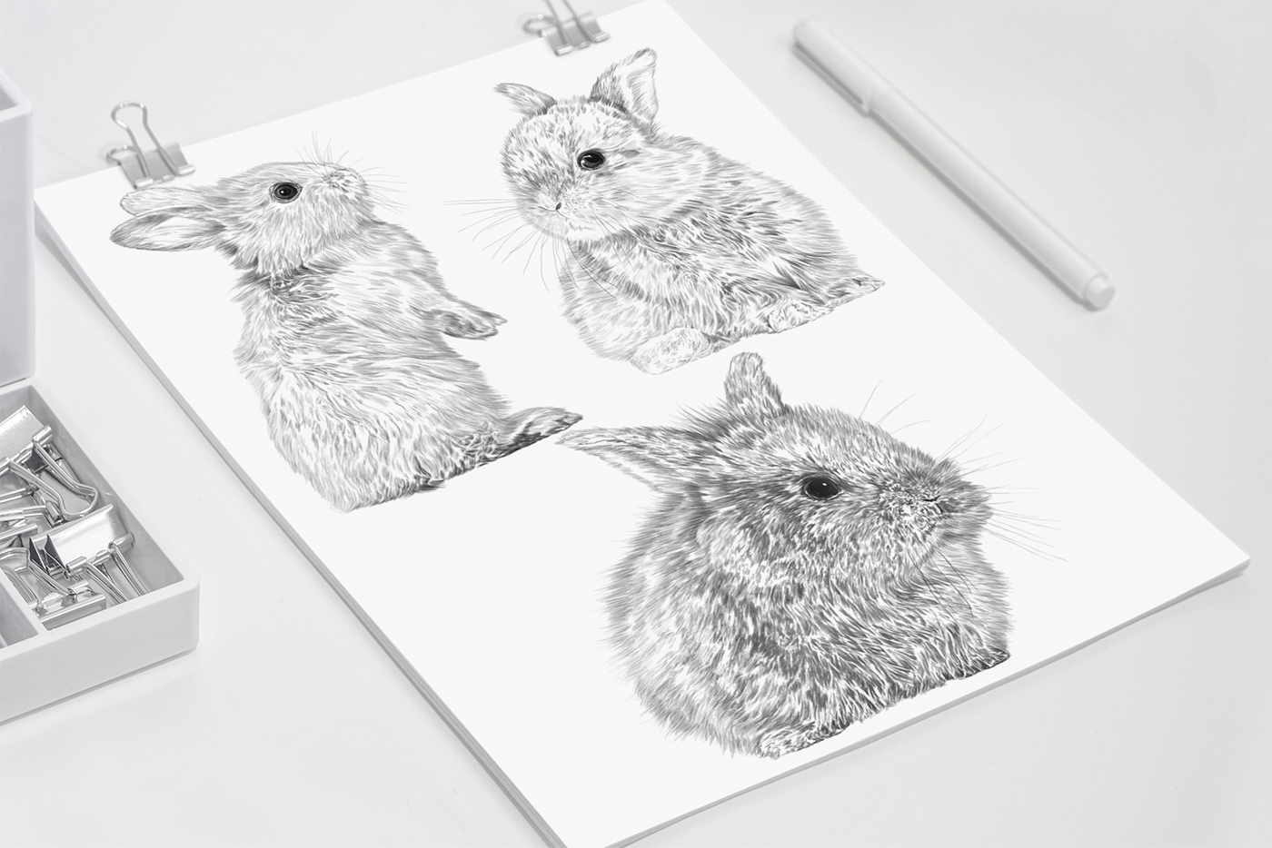 Cute Bunnies - Illustrated napkins / рисунки  Mariateresa Ingegnatti
