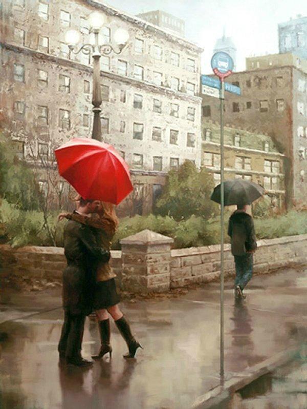 красный зонтик / художник Daniel Del Orfano