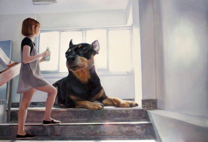 Большая собака художника Woo Jeong Jae