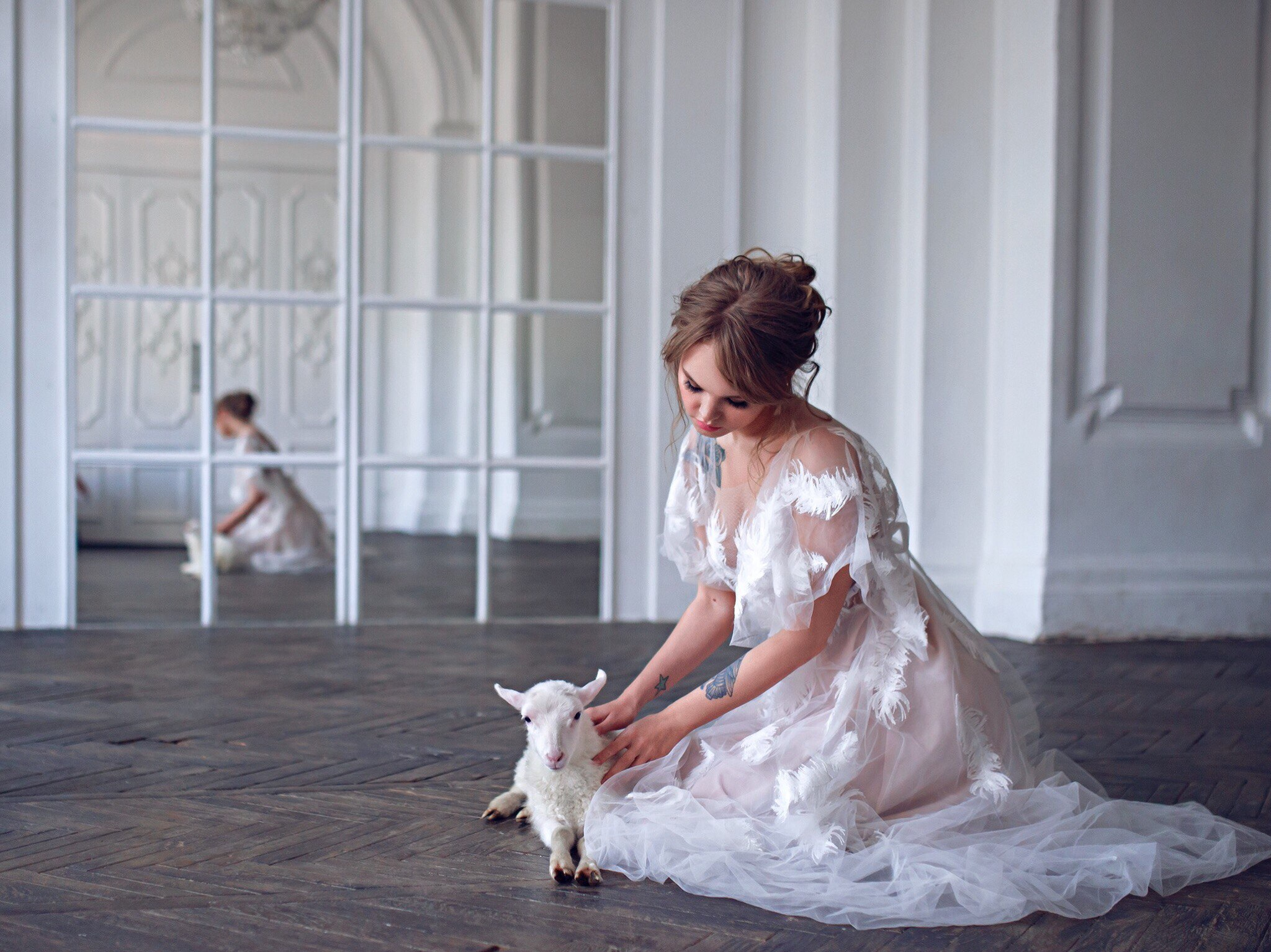 Анастасия Щеглова с козлом / фото Ольга Стрелкова