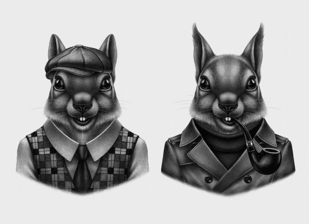 Fashionable animals / рисунки Lesha Limonov
