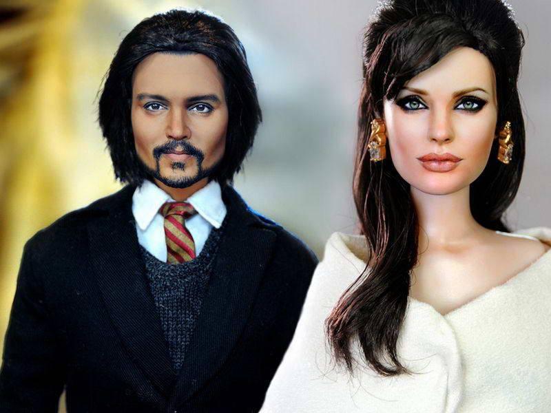 Куклы Джонни Деппа и Анджелины Джоли