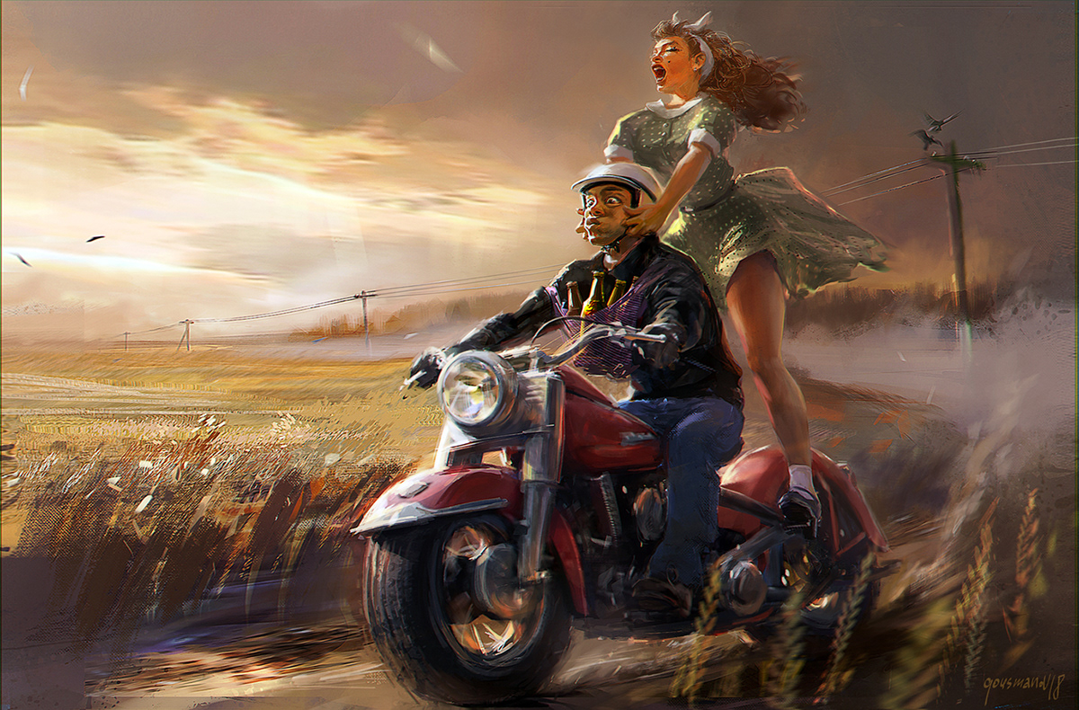 girls motorcycles wine and dancing / художник Вадим Гусманов