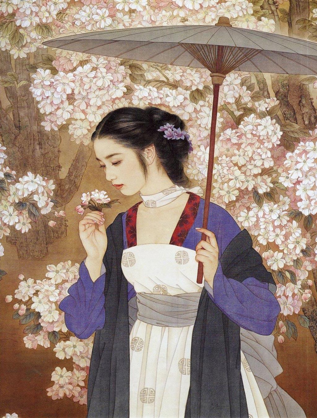 Китайская живопись по шелку Zhao Guojing