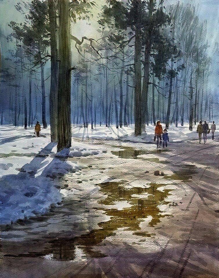 Акварельные пейзажи / художник Илья Горгоц