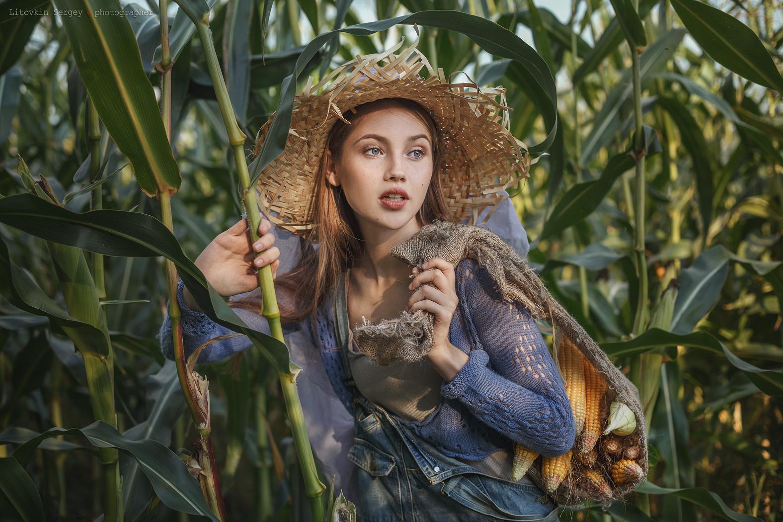 фотограф Сергей Литовкин / Модель Мария собирает кукурузу