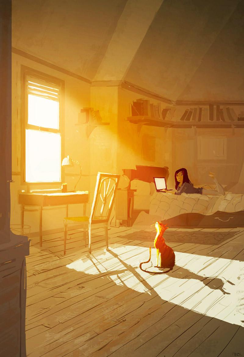 Девушка и кошка