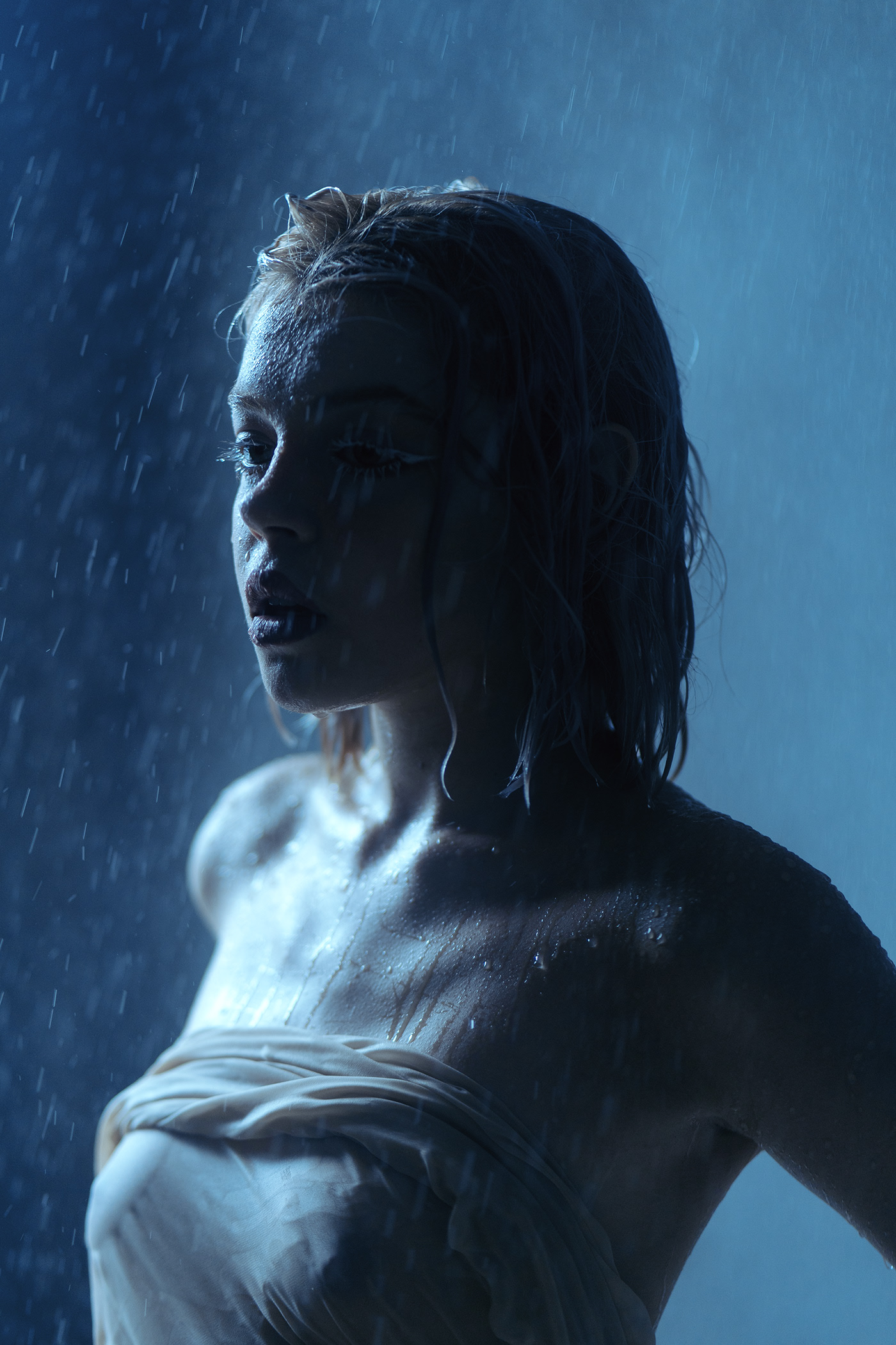 I feel the raindrops on my skin