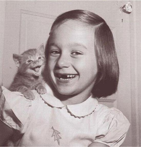 funny cute kid and small cat