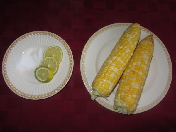 06202012 - Dinner one lazy night...Just Boiled Corn on the Cob