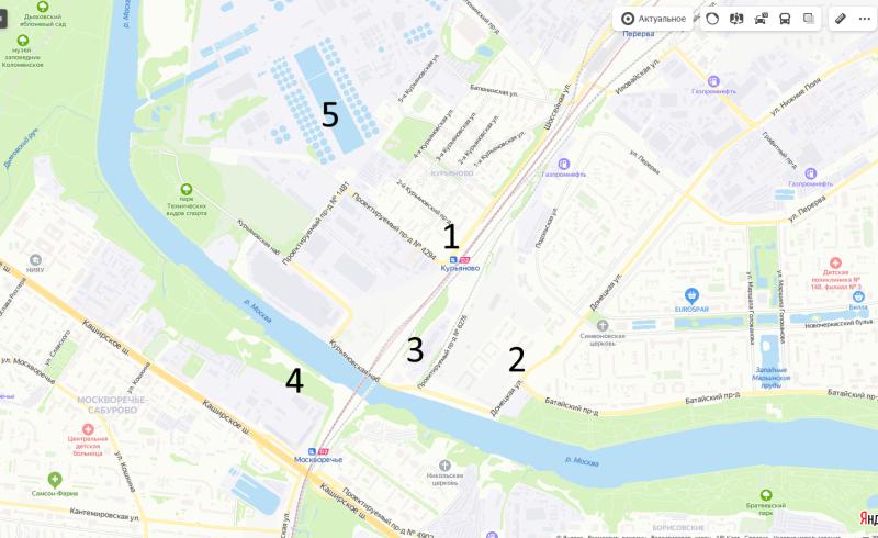 карта схема объектов вокруг станции МЦД-2 Курьяново