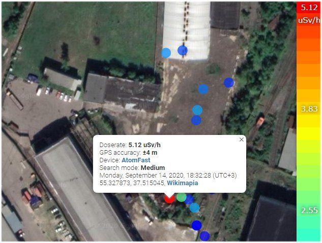 карта с точками измерения мощности дозы на территории промзоны у ст.Львовская