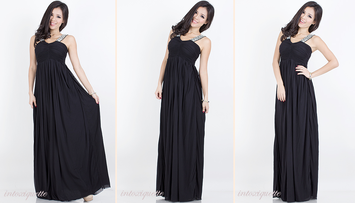 pearls maxi dress black 2