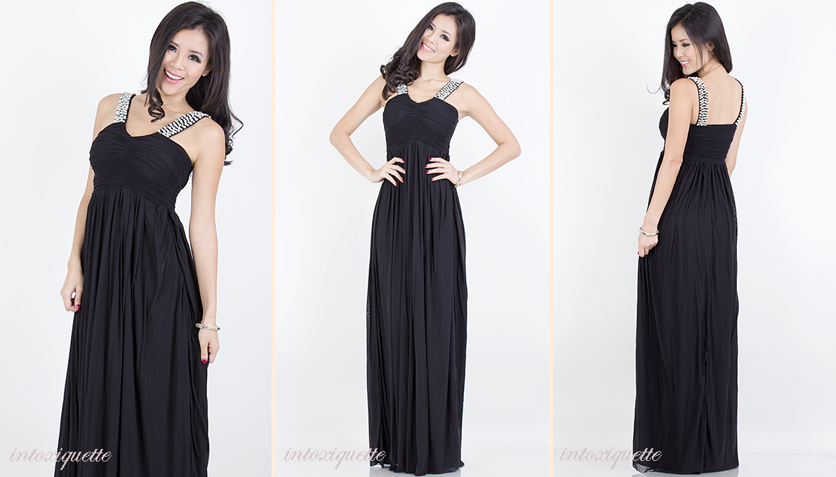 pearls maxi dress black 1