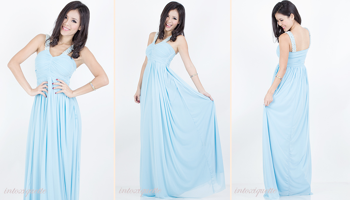 pearls maxi dress blue 1