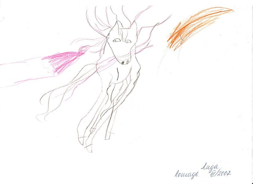 карандаш, рисующий бегущую лошадь в анфас 200703