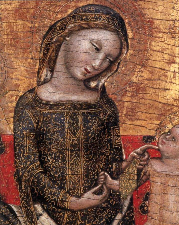 Vitale da Bologna - The Virgin of Umility 1353 - Museo Poldi Pezzoli (detail)