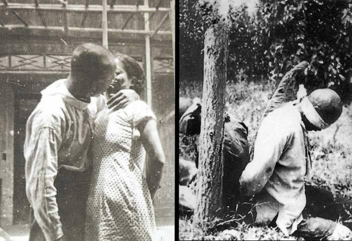 Captives tied to poles