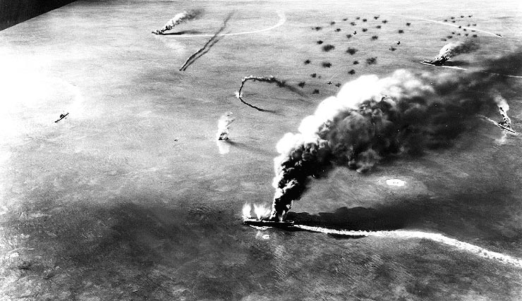 Burning carriers at Midway